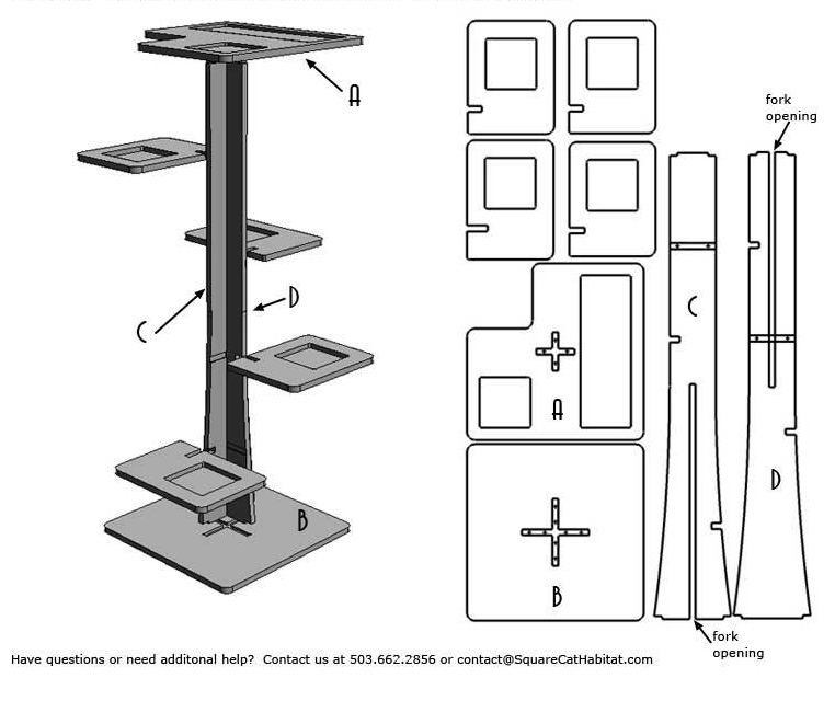Modern cat tower assembly
